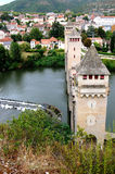 Pont Valentre Cahors medieval bridge. France Aug-20-07 gothic span 14th century river Lot Stock Photography