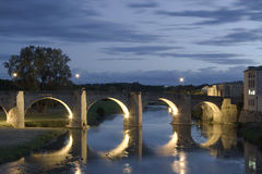 Pont Vieux. Getting dark in the Pont Vieux, Carcassonne (France Stock Photography