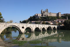 Pont Vieux in Beziers, France. St. Nazaire Cathedral and Pont Vieux in Beziers, France Royalty Free Stock Photo