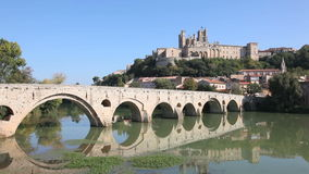 Pont Vieux in Beziers, France stock video