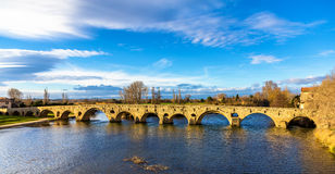 The Pont Vieux, a bridge over the Orb in Beziers Stock Image