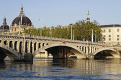 Pont Wilson on Rhone river in Lyon Royalty Free Stock Photos