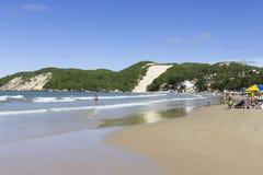 Ponta内格拉海滩和` Morro做新生卡雷卡的` -, RN,巴西 库存照片