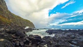 Ponta da Ferraria, bathing site on Azores, Portugal stock video footage