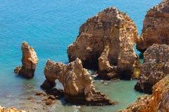 Ponta da Piedade cape& x28; Lagos Algarve, Portugal& x29; Arkivbilder