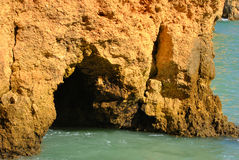 Ponta Da Piedade cave in the rock formations Stock Photos