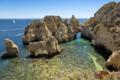 Ponta da Piedade in Lagos, Algarve region in Portugal. Royalty Free Stock Image