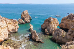 Ponta da Piedade, rock formations near Lagos in Portugal Stock Photos