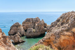 Ponta da Piedade, rock formations near Lagos in Portugal Royalty Free Stock Images