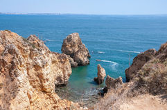 Ponta da Piedade, rock formations near Lagos in Portugal Stock Photo