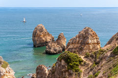 Ponta da Piedade, rock formations near Lagos in Portugal Royalty Free Stock Photos