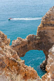 Ponta da Piedade, rock formations near Lagos in Portugal Stock Photography
