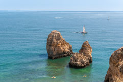 Ponta da Piedade, rock formations near Lagos in Portugal Stock Images