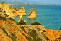 Ponta Da Piedade rock formations royalty free stock photo
