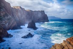 Ponta de圣洛伦索-马德拉岛,葡萄牙 免版税库存照片