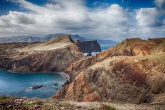 Ponta de圣洛伦索-马德拉岛,葡萄牙 图库摄影