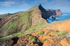 Ponta de圣洛伦索,马德拉岛海岛的最东部部分 库存图片