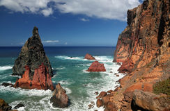 Ponta在马德拉岛,葡萄牙03的de圣洛伦索北海岸线  库存图片