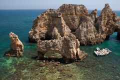 Ponta DE Piedade de kust in van Lagos, Algarve in Portug stock afbeeldingen