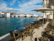 Ponta de Romana över den Gilao floden i Tavira, Algarve portugal Arkivbilder
