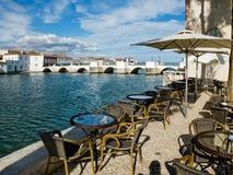 Ponta de Romana au-dessus de rivière de Gilao dans Tavira, Algarve portugal Images stock