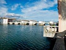 Ponta de Romana sopra il fiume di Gilao in Tavira, Algarve portugal Immagine Stock Libera da Diritti