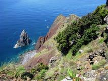 Ponta de Rosais, Sao Jorge island, The Azores. Looking down on the sea stack at Ponta de Rosais on the coast of Sao Jorge island, The Azores stock photos