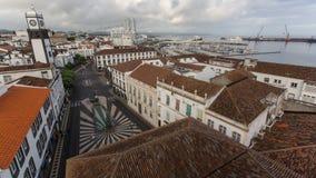 Ponta Delgada的中心顶视图  城市位于圣地米格尔海岛 图库摄影