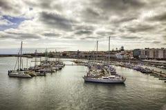 Ponta Delgada,亚速尔群岛小游艇船坞  免版税库存照片