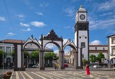 Ponta Delgada,圣地米格尔海岛,亚速尔群岛,葡萄牙城市门  图库摄影