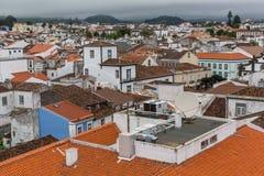 Ponta Delgada (亚速尔群岛)的中心顶视图  免版税库存图片