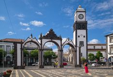 City Gate of Ponta Delgada, Sao Miguel island, Azores, Portugal. PONTA DELGADA, AZORES, PORTUGAL - JUNE 30, 2017: Historic City Gate Portuguese: Portas da Cidade stock photography
