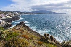 Ponta Delgada e costa atlantica sull'isola di Miguel del sao, Azzorre, P Fotografie Stock Libere da Diritti