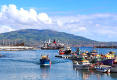 Ponta Delgada harbor on Sao Miguel island, Azores Stock Photo