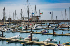 Ponta Delgada, Portugal - Maj 15, 2017: Hamn i Ponta Delgada, royaltyfria bilder
