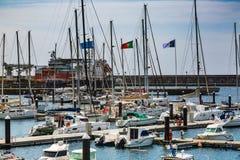 Ponta Delgada, Portugal - Maj 15, 2017: Hamn i Ponta Delgada, royaltyfri bild