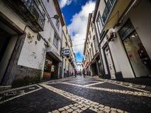Ponta Delgada shopping street Stock Photography