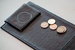 Ponta do dinheiro, moeda na bandeja do couro do preto do pagamento Imagens de Stock Royalty Free