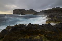 Ponta DOS Capelinhos, Faial ö, Azores, Portugal Royaltyfria Bilder