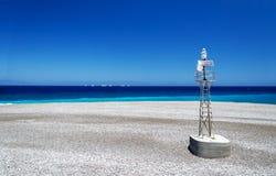 Ponta norte do Rodes onde a reunião egeia e mediterrânea fotos de stock royalty free