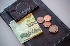 A ponta, o notebank e a moeda do dinheiro no pagamento enegrecem a bandeja de couro imagem de stock royalty free