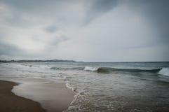 Ponta Robi Ouro plaży i najlepszy plaży w Mozambik - zieleń Obrazy Stock