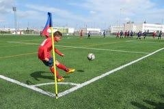 Pontapé de canto do futebol Fotografia de Stock