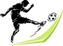 Pontapé do poder do jogador de futebol Imagem de Stock Royalty Free