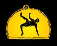 Pontapé do salto mortal do jogador de futebol, vetor do gráfico da ação do pontapé aéreo Imagens de Stock
