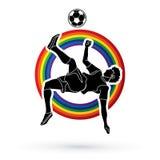 Pontapé do salto mortal do jogador de futebol, vetor do gráfico da ação do pontapé aéreo Imagem de Stock