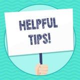 Pontas úteis do texto da escrita da palavra Conceito do negócio para os conselhos dados para ser conhecimento útil na placa da te ilustração stock