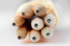 Pontas amarelas do lápis Fotografia de Stock Royalty Free