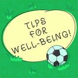 Pontas do texto da escrita para o bem estar Conceito que significa conselhos indicar de ser bola de futebol saudável ou feliz con ilustração stock
