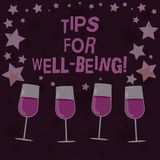 Pontas do texto da escrita para o bem estar Conceito que significa conselhos indicar de ser vinho enchido saudável ou feliz confo ilustração do vetor